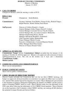 Icon of Bozrah Utilities Commission Meeting Minutes 012319