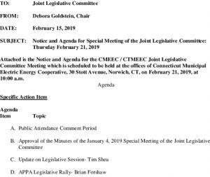Joint Legislative Committee Meeting Agenda 02-21-2019