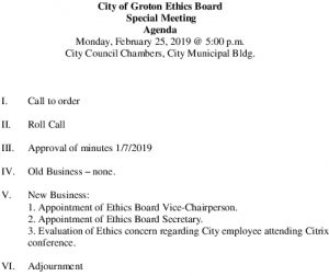 Icon of Ethic Board Agenda 2-25-2019 Sp