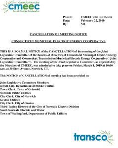 CMEEC Legislative Committee Cancellation 03-01-2019 02-22-2019