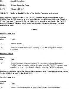 Agenda Special Meeting Of The CMEEC Special Committee 02-28-2019