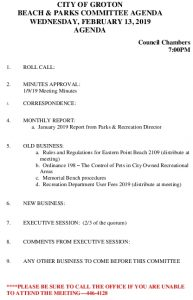 Icon of Beach And Parks Committee Agenda Feb 2019