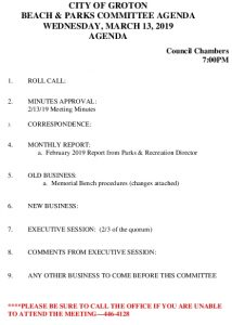 Icon of Beach And Parks Committee Agenda Mar 2019