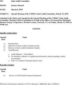 CMEEC Joint Audit Committee Special Meeting Agenda 03-15-2019