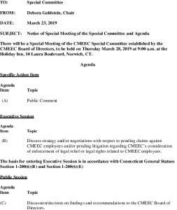 CMEEC Special Committee Special Meeting Agenda 03-28-2019