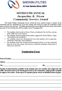 Community Service Award Application 2019
