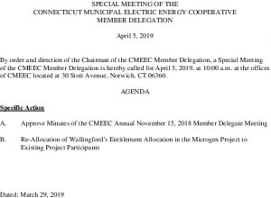 Agenda Special Meeting Of The Member Delegation 04-2019