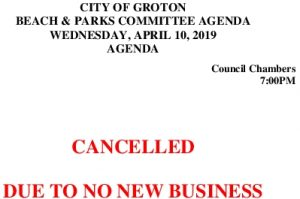Beach And Parks Committee Agenda Cancellation April 2019