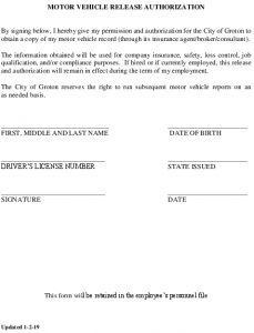 Icon of Motor Vehicle Release Authorization Acknowledgement Form
