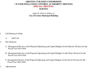 Icon of Agenda- Groton Utilities Commission 04-10-2019 Special Meeting