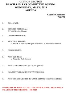 Icon of Beach And Parks Committee Agenda May 2019
