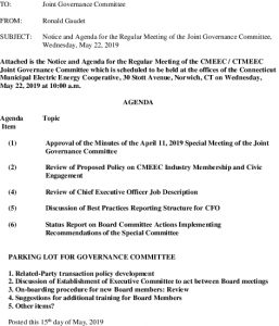 CMEEC Governance Committee Meeting Agenda 05-22-2019