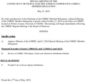 Special Meeting Of The CMEEC Member Delegation Agenda 05-23-2019 Clean