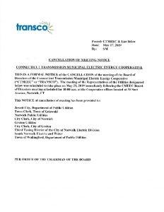 TRANSCO Cancellation 05-23-2019