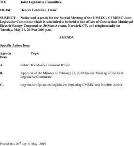 CMEEC Special Legislative Committee Meeting Agenda 05-21-2019