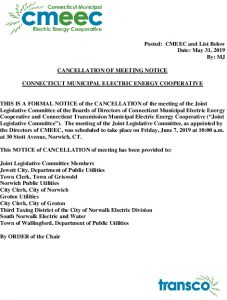 Joint Legislative Committee Meeting Notice Of Cancellation Of 06-07-2019 Meeting 05-31-2019