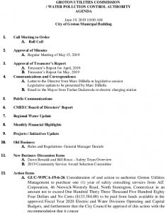 Icon of Groton Utilities Commission  Water Pollution Control Authority Meeting Agenda June 19, 2019
