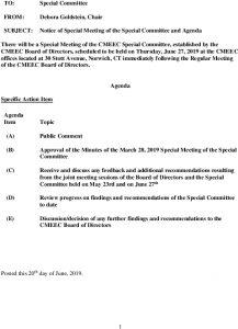 CMEEC Special Committee Special Meeting Agenda 06-27-2019