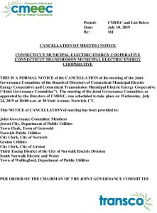 Joint Governance Committee Meeting Notice Of Cancellation Of 07-24-2019 Meeting 07-10-2019