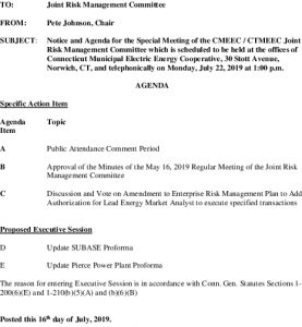 CMEEC Joint Risk Management Comm Agenda 07-22-2019