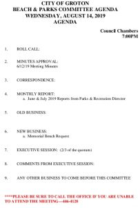 Beach And Parks Committee Agenda August 2019