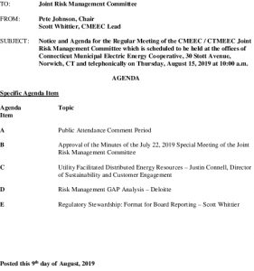 Joint Risk Management Committee Agenda 08-15-2019