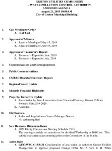 Icon of Amended Agenda Groton Utilities Commission August 21, 2019