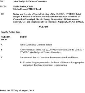 Joint Budget  Finance Committee Meeting Agenda 08-29-2019