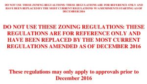 Icon of NOT CURRENT - Zoning Regulations Prior To Dec 2016