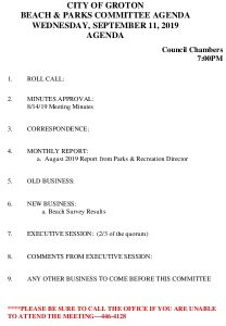 Beach And Parks Committee Agenda Sept 2019