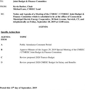 Joint Budget  Finance Committee Meeting Agenda 09-20-2019