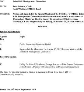 CMEEC Risk Management Committee Agenda 09-20-2019