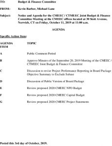 CMEEC Budget And Finance Committee Meeting Agenda 10-11-2019