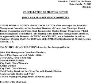 CMEEC Cancellation Notice Risk Management Committee 10-17-2019