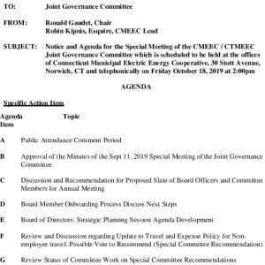 CMEEC Governance Committee Agenda 10-18-2019