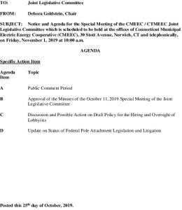 CMEEC Special Legislative Committee Agenda 11-01-2019