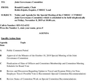 Special Governance Committee Meeting Agenda 11-08-2019