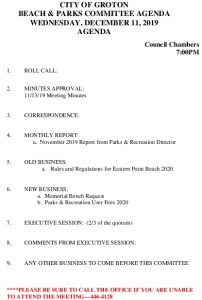 Icon of Beach And Parks Committee Agenda Dec 2019