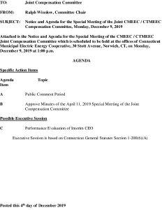 CMEEC Compensation Committee Agenda 12-09-2019