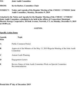 Joint Audit Committee Meeting Agenda 12-09-2019