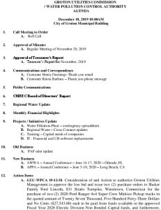 Icon of Groton Utilities Commission Water Pollution Control Authority Agenda December 18, 2019