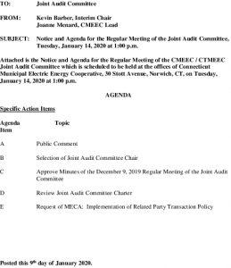 CMEEC Joint Audit Committee Agenda 01-14-2020