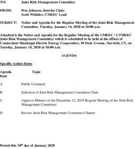 CMEEC Joint Risk Management Committee Agenda 01-14-2020