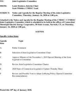 CMEEC Joint Legislative Committee Agenda 01-16-2020