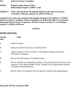 CMEEC Joint Governance Committee Agenda 01-16-2020