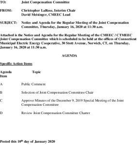 CMEEC Joint Compensation Committee Agenda 01-16-2020
