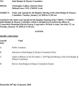 CMEEC Joint Budget  Finance Agenda 01-14-2020