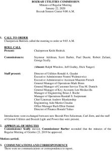 Icon of Bozrah Utility Commission Meeting Minutes 01-22-2020
