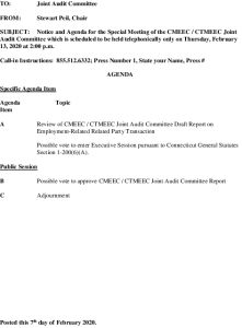 CMEEC Audit Committee Special Meeting Agenda 02-13-2020