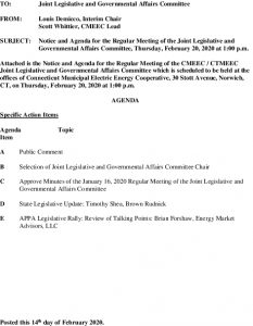 Joint Legislative And Governmental Affairs Committee Agenda 02-20-2020